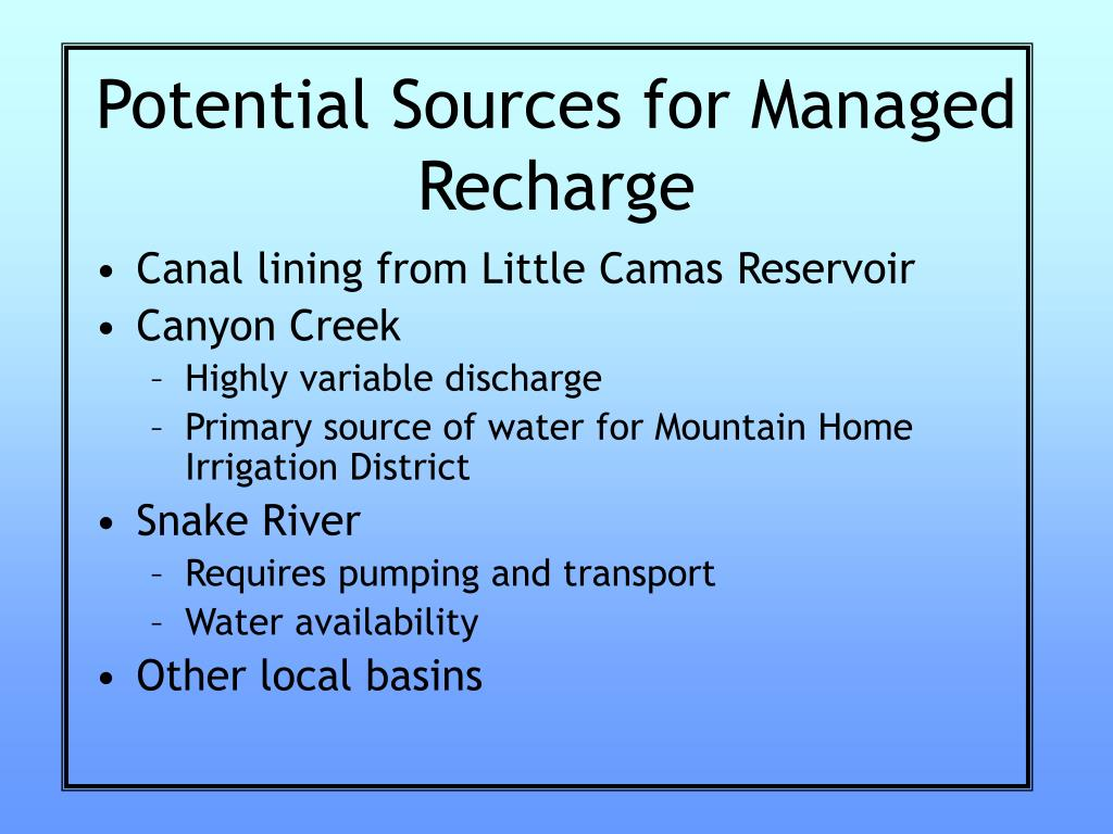 Potential Sources for Managed Recharge