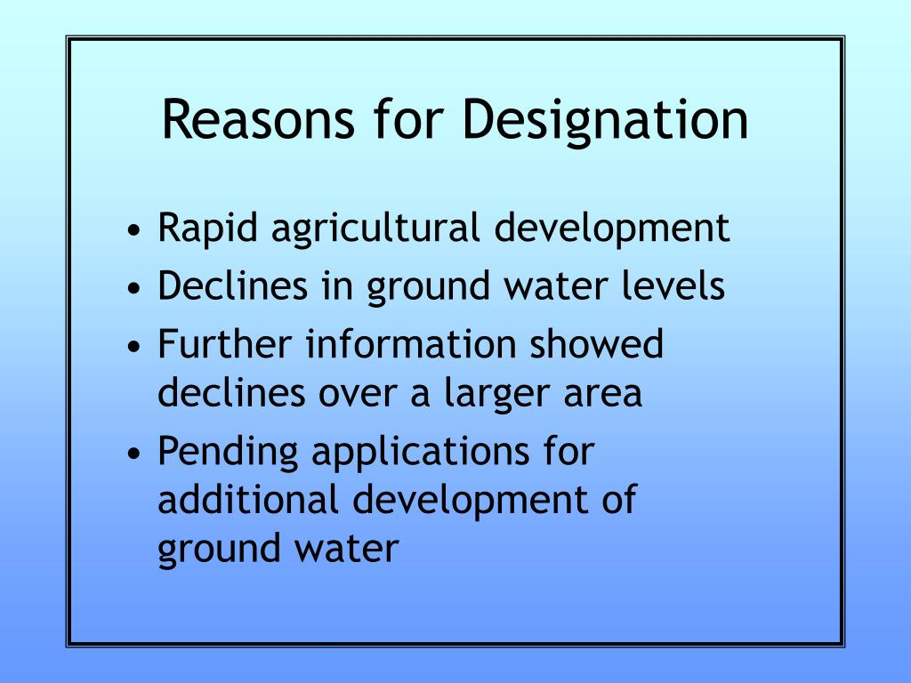 Reasons for Designation