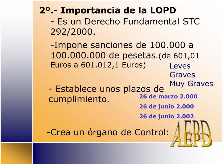 2º.- Importancia de la LOPD