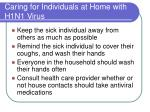 caring for individuals at home with h1n1 virus