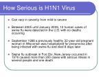 how serious is h1n1 virus