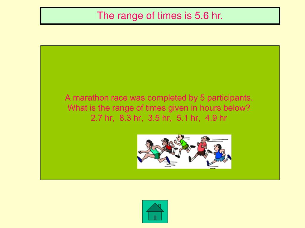 The range of times is 5.6 hr.