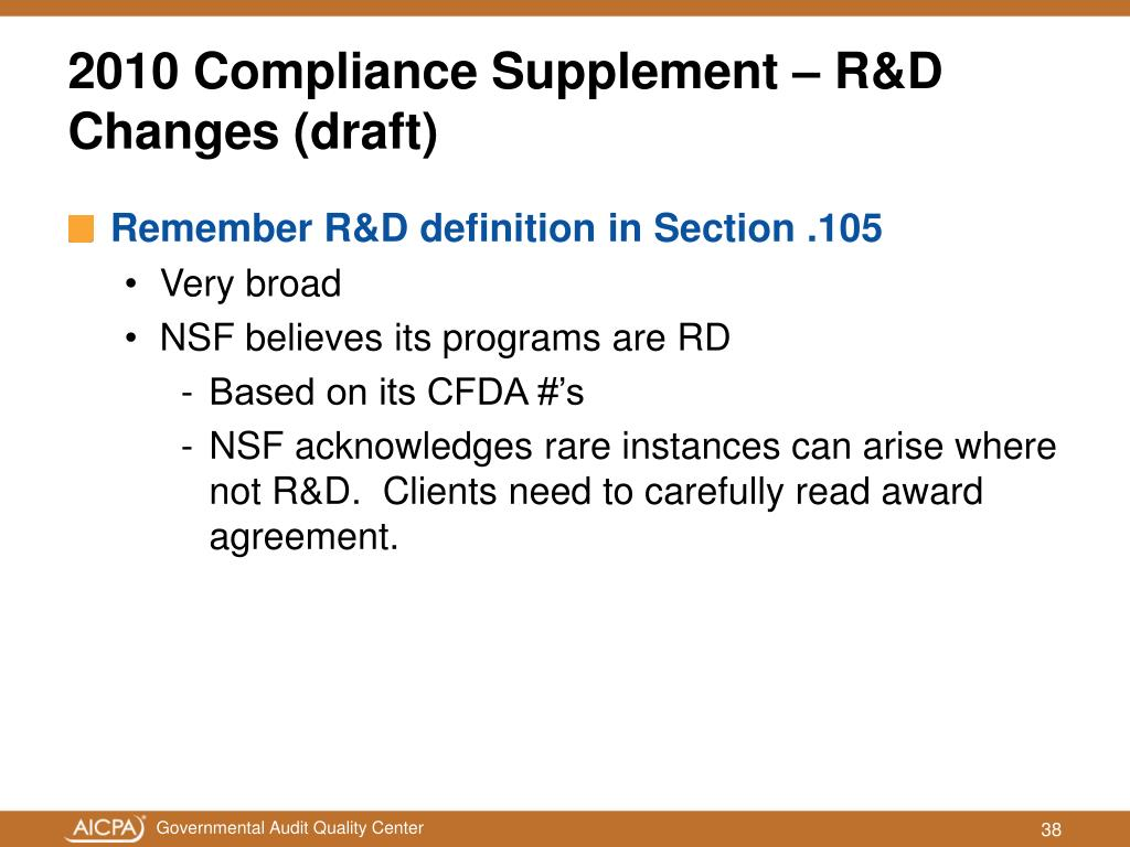 Remember R&D definition in Section .105