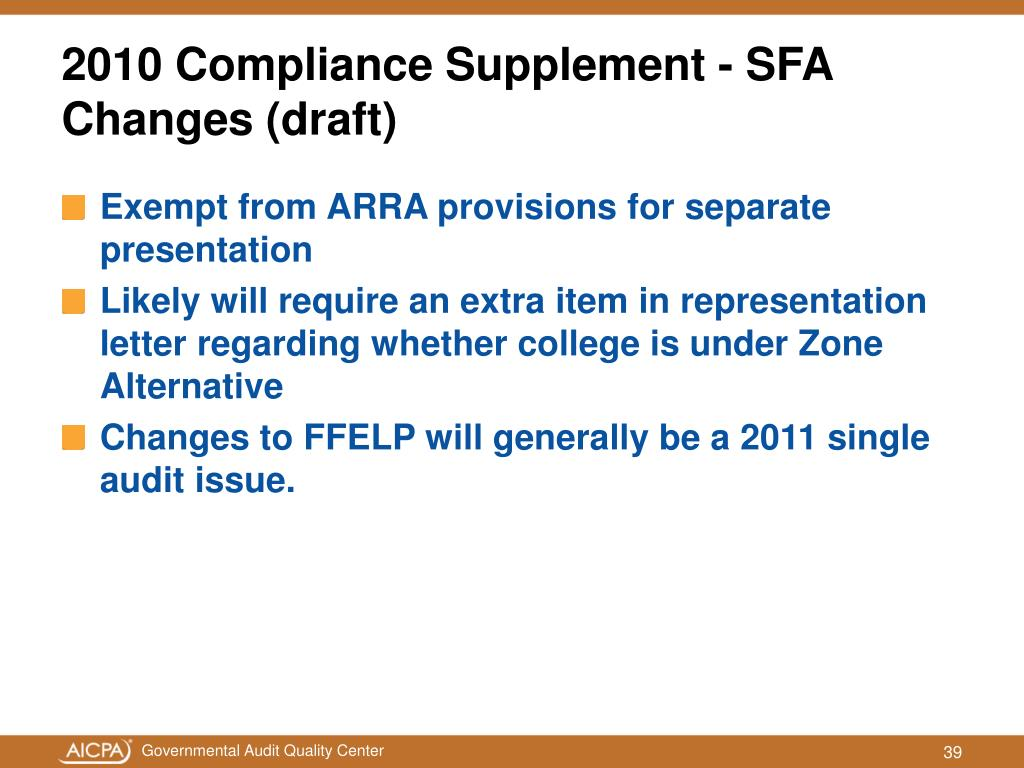 Exempt from ARRA provisions for separate presentation