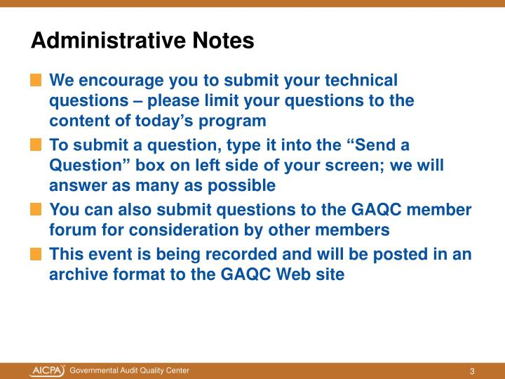 Administrative notes3