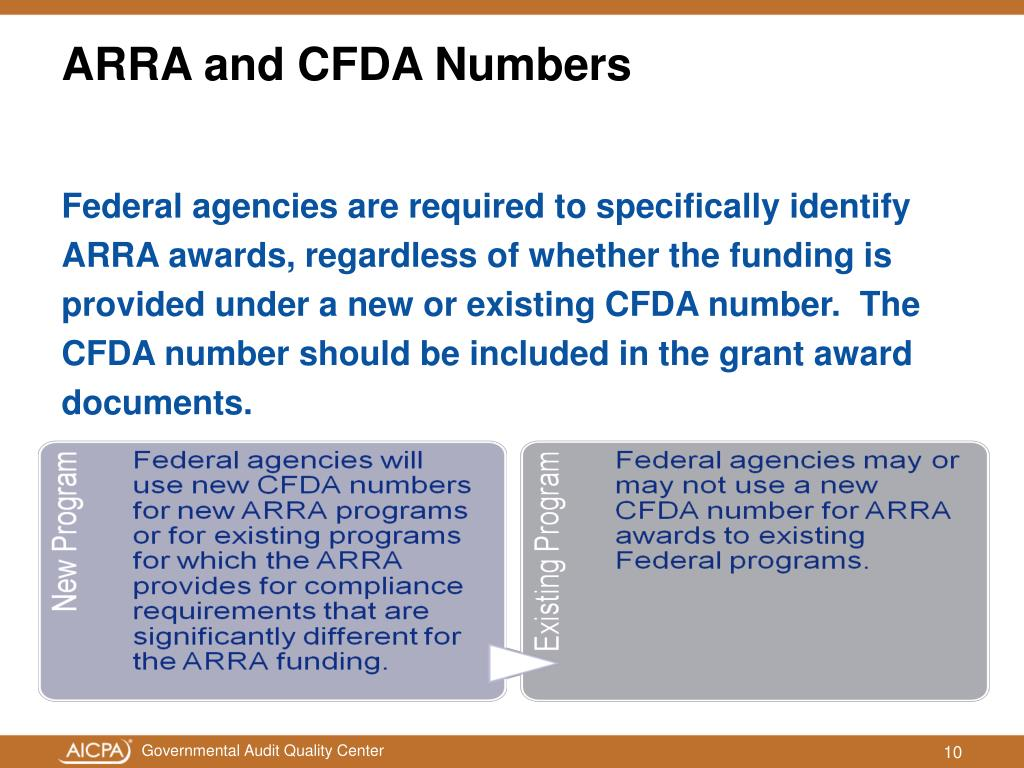ARRA and CFDA Numbers