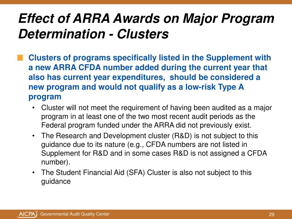 Clusters of programs specifically listed in the Supplement with a new ARRA CFDA number added during the current year that also has current year expenditures,  should be considered a new program and would not qualify as a low-risk Type A program