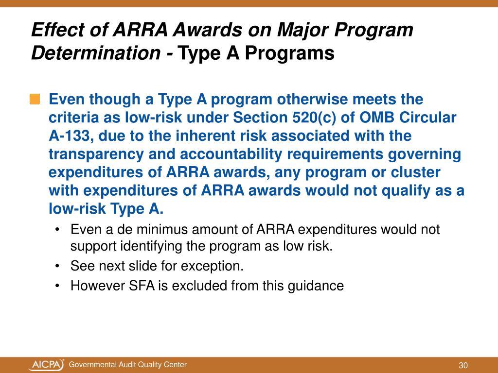 Effect of ARRA Awards on Major Program Determination -