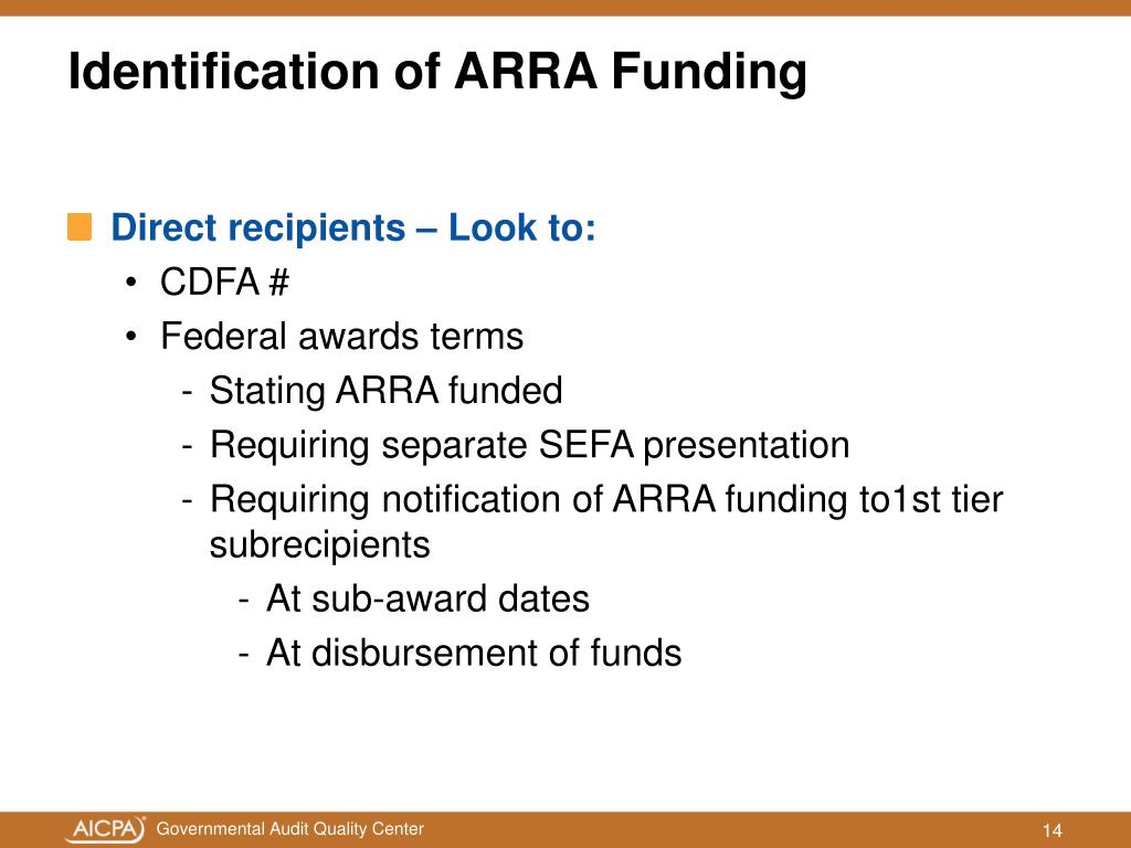 Identification of ARRA Funding