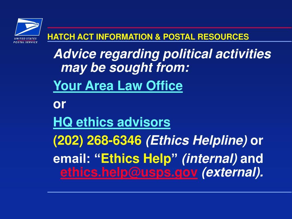 HATCH ACT INFORMATION & POSTAL RESOURCES