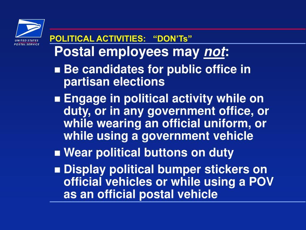 "POLITICAL ACTIVITIES:   ""DON'Ts"""