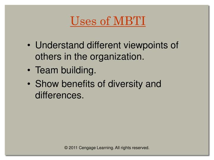 Uses of MBTI