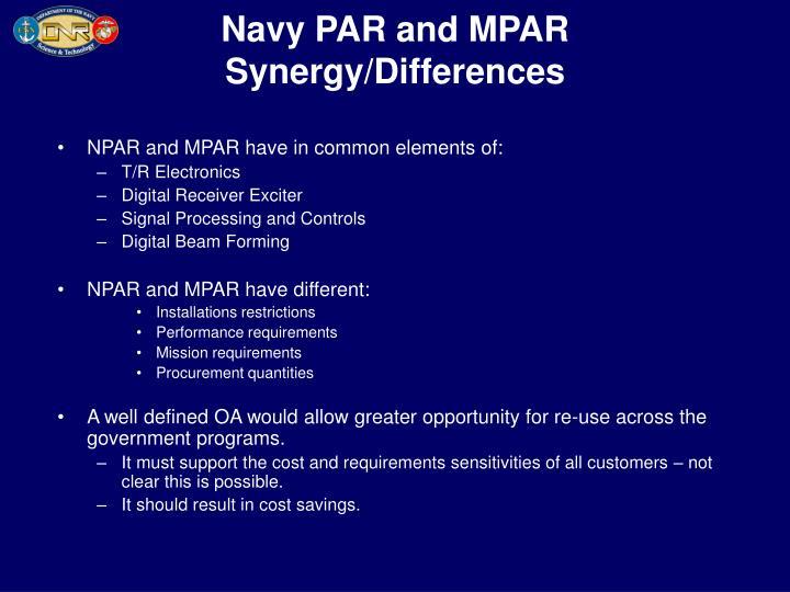 Navy PAR and MPAR