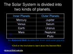 the solar system is divided into two kinds of planets