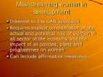 mainstreaming women in development