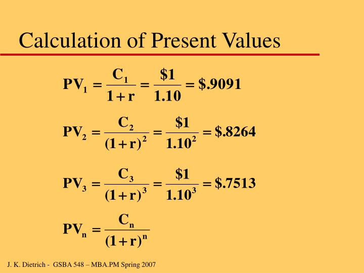 Calculation of Present Values