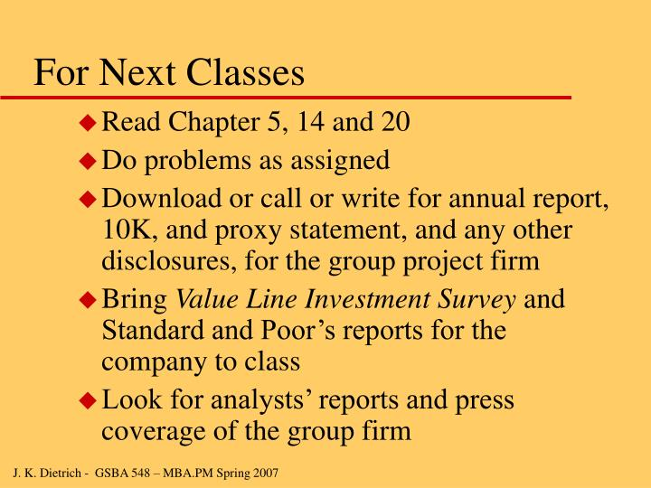 For Next Classes
