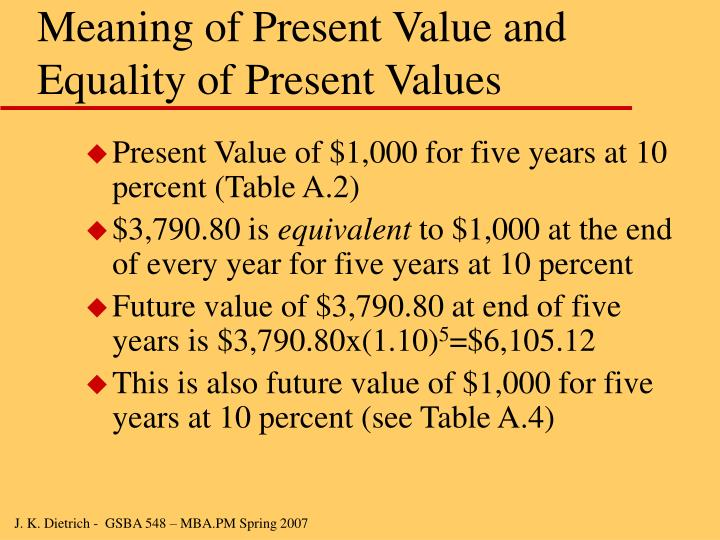 Meaning of Present Value and Equality of Present Values
