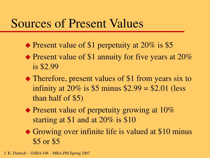 Sources of Present Values