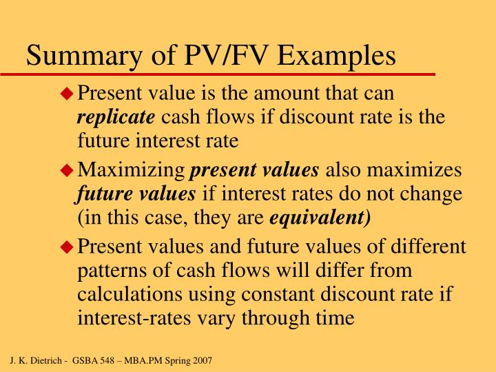 Summary of PV/FV Examples