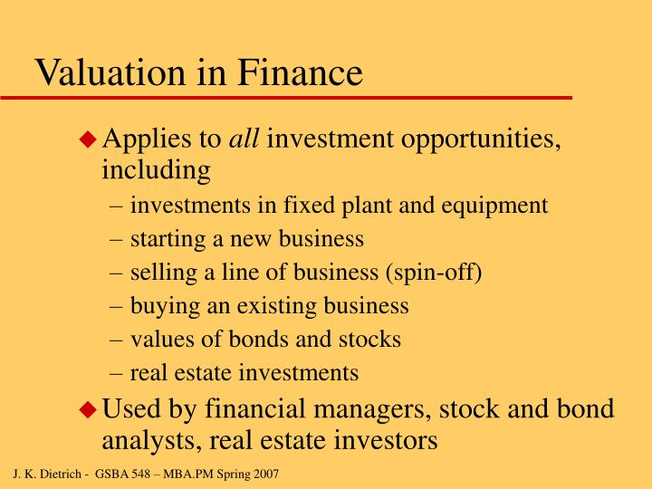 Valuation in Finance