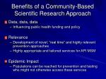 benefits of a community based scientific research approach