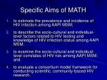 specific aims of math