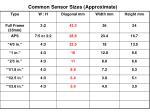 common sensor sizes approximate