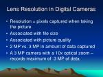 lens resolution in digital cameras