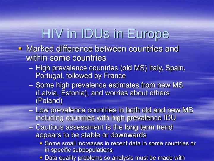 HIV in IDUs in Europe