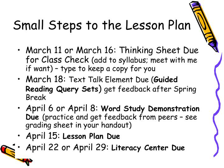 PPT - Small Steps to the Lesson Plan PowerPoint Presentation - ID:476012
