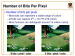 number of bits per pixel