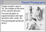 toward photography