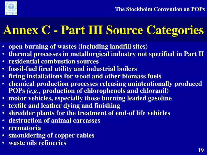 Annex C - Part III Source Categories