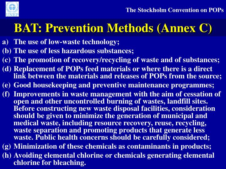 BAT: Prevention Methods (Annex C)