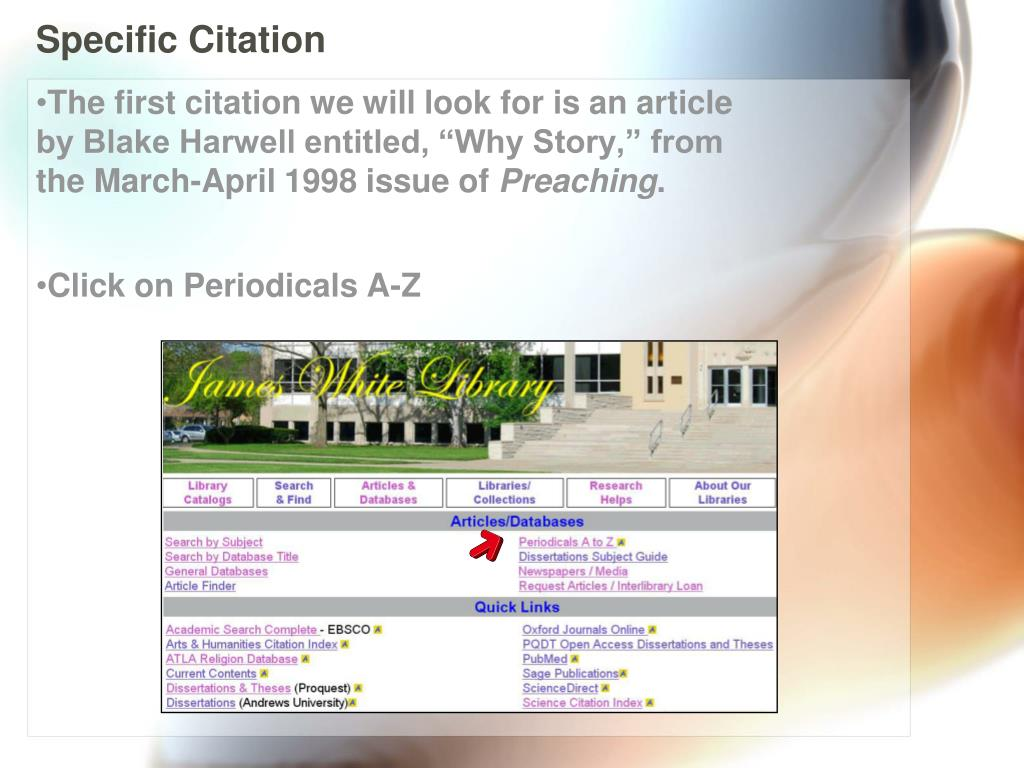 PPT - Periodicals A-Z: From Citation to Text PowerPoint Presentation