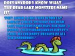 does anybody know what the bear lake monsters name is