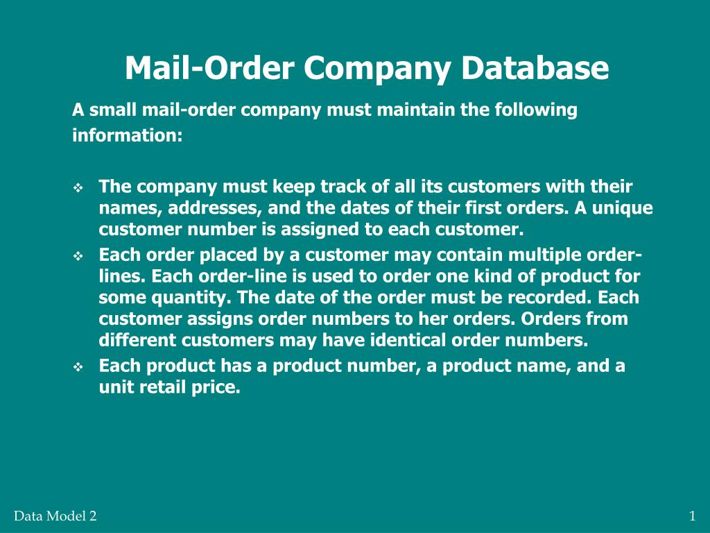 mail order company database l.