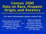 census 2000 data on race hispanic origin and ancestry
