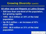 growing diversity cont d