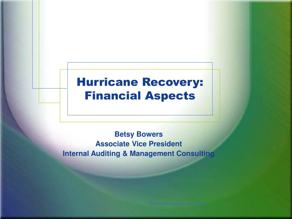 hurricane recovery financial aspects l.