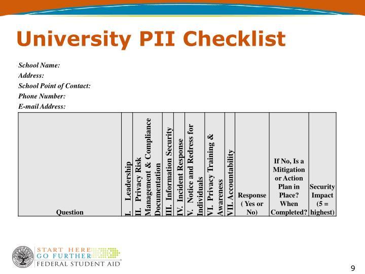 University PII Checklist