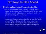six ways to plan ahead24