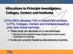 allocations to principle investigators colleges centers and institutes