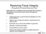 restoring fiscal integrity through the financial recovery plan