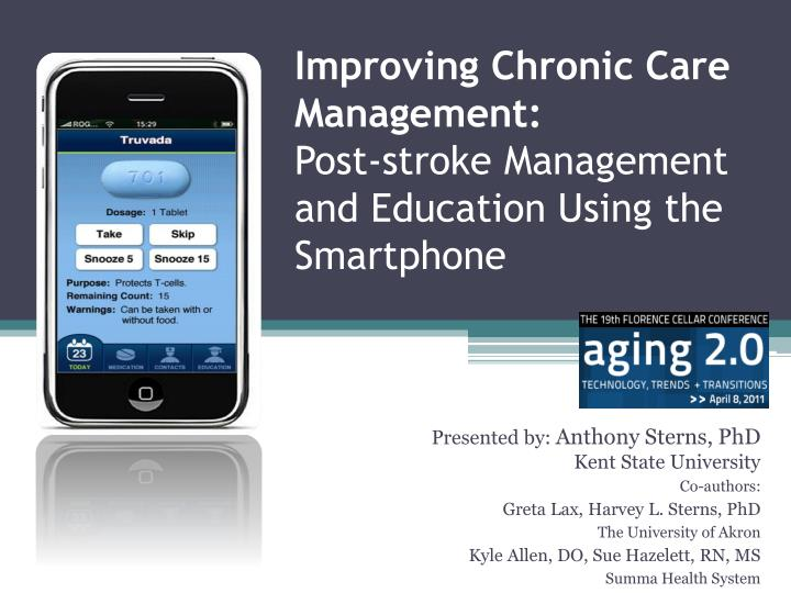 Improving chronic care management post stroke management and education using the smartphone