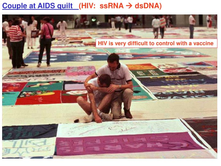 Couple at AIDS quilt