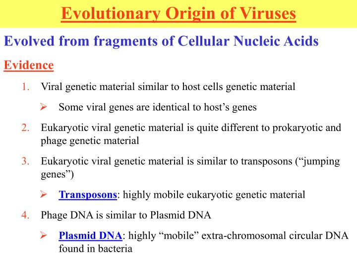 Evolved from fragments of Cellular Nucleic Acids