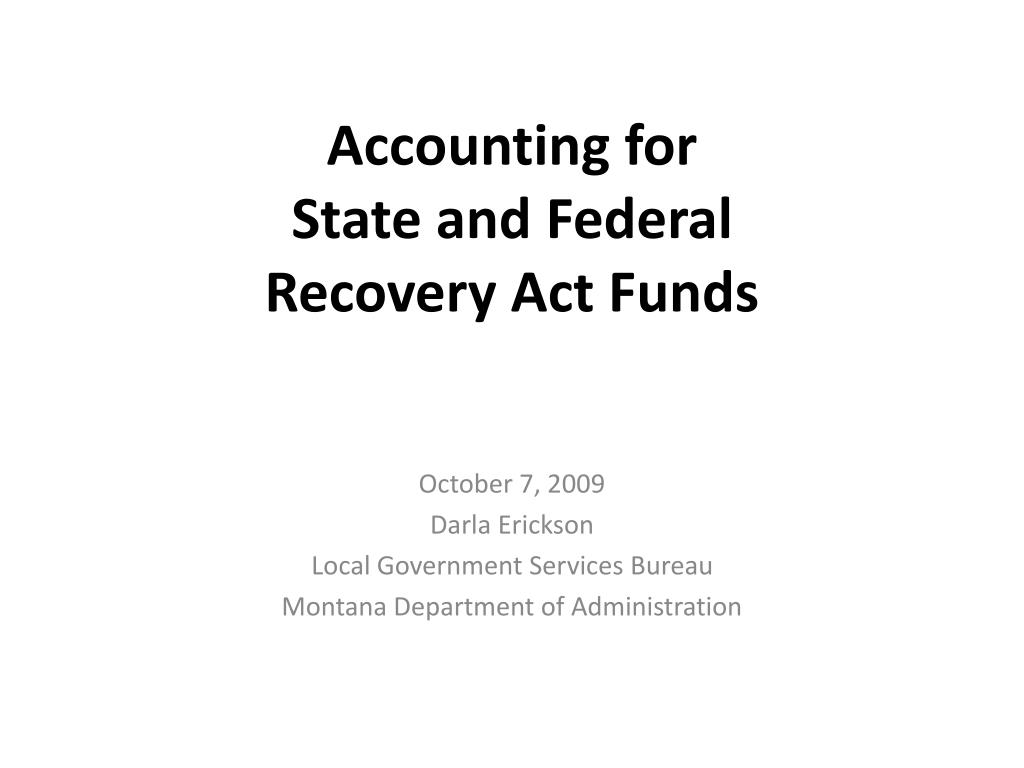 accounting for state and federal recovery act funds l.
