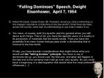 falling dominoes speech dwight eisenhower april 7 1954
